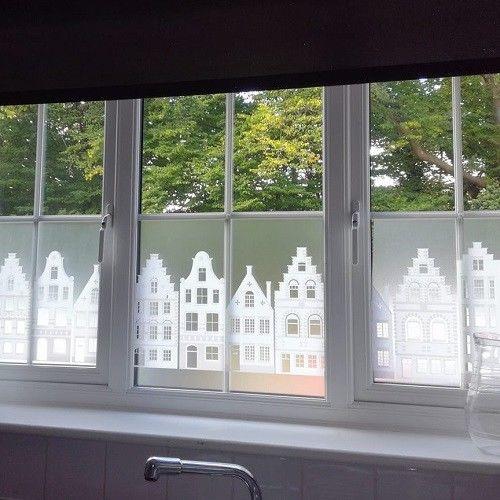 statisch raamfolie grachten huisjes